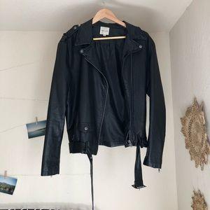 Silence + Noise Faux Leather Belted Moto Jacket